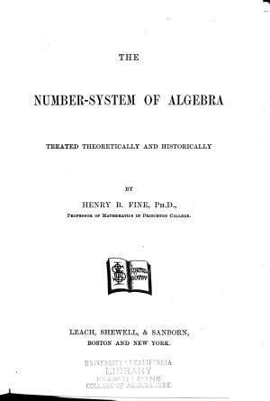 The Number system of Algebra PDF