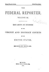 The Federal Reporter: Volume 44