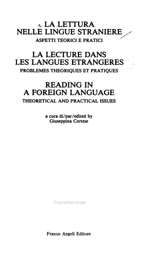 La Lettura nelle lingue straniere