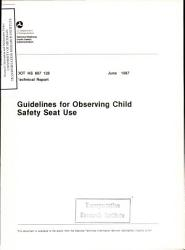 Guidelines For Observing Child Safety Seat Use Technical Report Book PDF