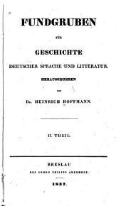 Fundgruben fuer Geschichte deutscher Sprache und Litteratur: Band 2