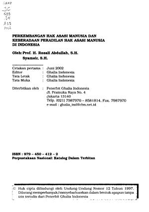 Perkembangan hak asasi manusia dan keberadaan peradilan hak asasi manusia di Indonesia PDF