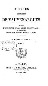 Œuvres complètes de Vauvenargues: Volume2