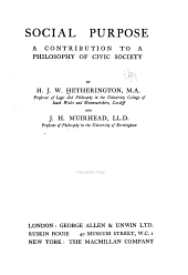 Social Purpose: A Contribution to a Philosophy of Civic Society