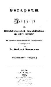 Serapeum   Zeitschrift f  r Bibliothekwissenschaft  Handschriftenkunde und   ltere Litteratur PDF