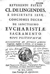 Conciones decem de sanctissimo Eucharistiae sacramento