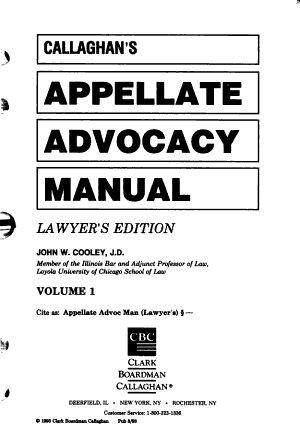 Callaghan s Appellate Advocacy Manual