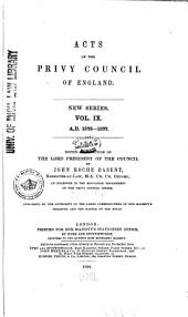 Acts of the Privy Council of England: Volume 9