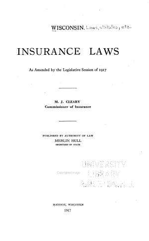 Compilation of the Insurance Laws of Wisconsin