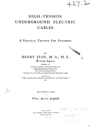 High tension Underground Electric Cables