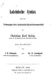 Vorlesungen über lateinische Sprachwissenschaft: Bd. Lateinische Syntax