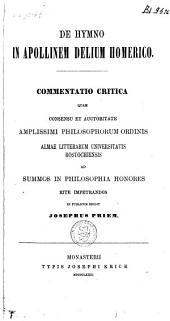 De hymno in Apollinem Delium homerico: commentatio critica ...