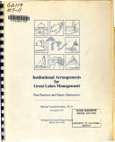 Institutional Arrangements for Great Lakes Management