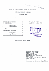 California. Court of Appeal (1st Appellate District). Records and Briefs: 2CRIM29378, Appellant's Reply