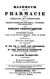Pharmaceutische Botanik: zum Gebrauche bei Vorlesungen und zum Selbstunterrichte für Ärzte, Apotheker und Droguisten. Ergänzungsheft. 3