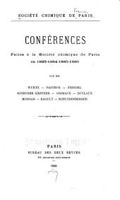 Conferences faites a la Societe chimique de Paris en 1886-1892: Volume 1