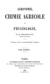 Agronomie: chimie agricole et physiologie, Volume 1
