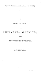 A Brief Account of the Thesaurus Siluricus with a Few Facts and Inferences