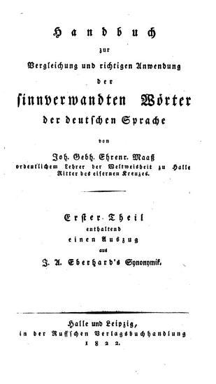Handbuch zur Vergleichung und richtigen Anwendung der sinnverwandten W  rter der deutschen Sprache PDF