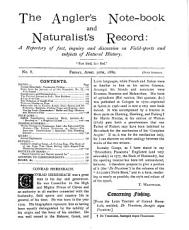 The Angler s Note book and Naturalist s Record PDF