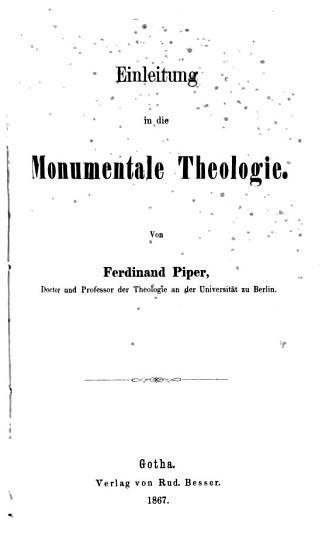 Einleitung in die monumentale Theologie PDF
