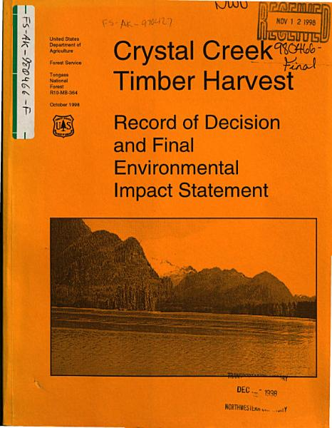 Download Tongass National Forest  N F    Crystal Creek Timber Harvest Book