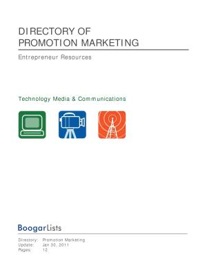 BoogarLists   Directory of Promotion Marketing PDF