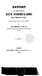 Rapport sur le projet de rédaction d'un formulaire pour le dispensaire de Lyon