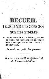 Recueil des indulgences que les fidèles peuvent gagner facilement: ou appliquer par manière de suffrage aux âmes qui souffrent dans le Purgatoire