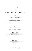 Visit to the Great Oasis of the Libyan Desert   with an Account of the Oasis of Amun and the Other Oases Under the Dominion of the Pasha of Egypt   With a Map and Twenty Plates Illustrating the Temples  etc   PDF