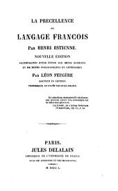 La précellence du langage françois