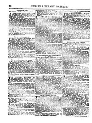 The Dublin Literary Gazette  Or Weekly Chronicle of Criticism  Belles Lettres  and Fine Arts