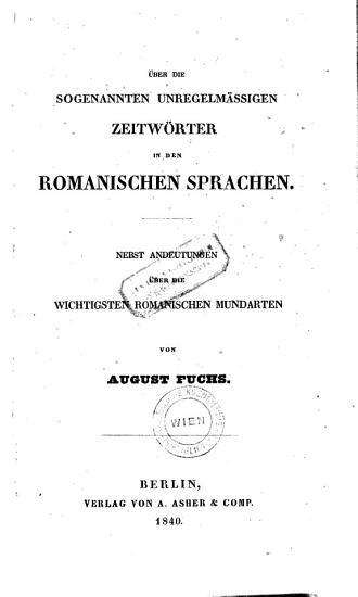 ber die sogenannten unregelm  ssigen Zeitw  rter in den romanischen Sprachen PDF