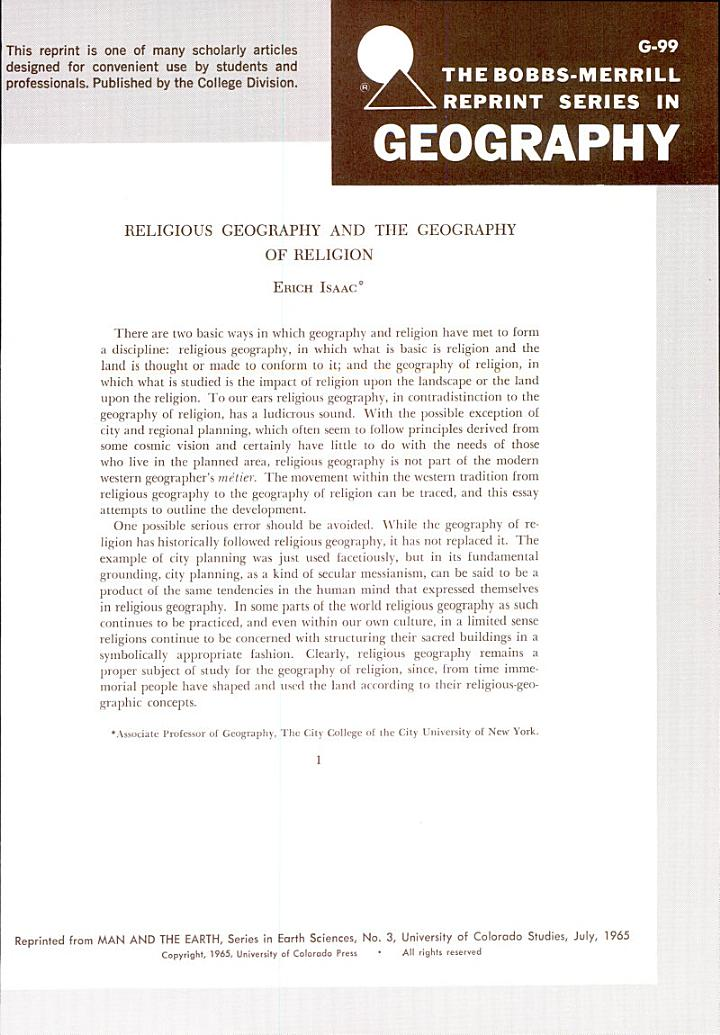 Religoius Geography and the Geography of Religion