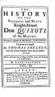 The History of the Valorous and Witty Knight Errant Don Quixote of the Mancha     Translated Into English by Thomas Shelton  and Now Printed Verbatim from the 4to  Edition of 1620  With a Curious Set of Cuts from the French of Coypel PDF