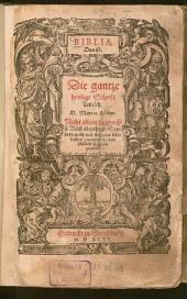 Biblia: Das ist: Die gantze heylige Schrift Teutsch. VT., Genesis - Canticum canticorum. Th. 1