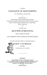 A Second Catalogue Of Manuscripts In Different Languages On Theology By John Cochran Book PDF