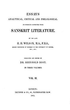 Essays Analytical  Critical and Philological on Subjects Connected with Sanskrit Literature   3 PDF