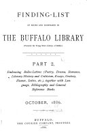 A Finding-list of History, Politics, Biography, Geography, Travel and Anthropology in the Young Men's Library at Buffalo