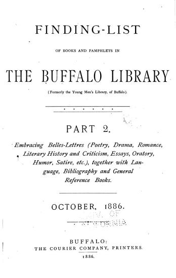 A Finding list of History  Politics  Biography  Geography  Travel and Anthropology in the Young Men s Library at Buffalo PDF
