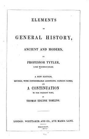Elements of General History  Ancient and Modern PDF