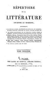 Répertoire de la littérature ancienne et moderne: Supplément et table, Volume13