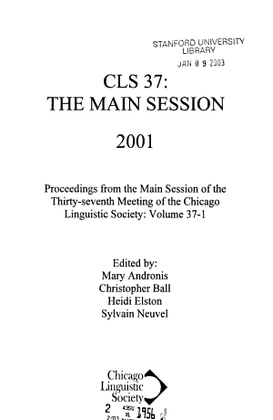 Proceedings from the Main Session of the Chicago Linguistic Society's ... Meeting