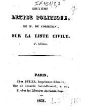 Deuxième lettre politique de M. de Cormenin, sur la liste civile