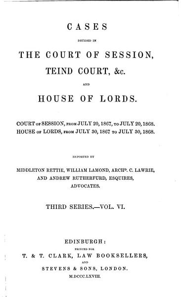 Download Cases Decided in the Court of Session  Teind Court  Etc  and House of Lords Book