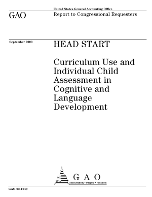 Head Start curriculum use and individual child assessment in cognitive and language development   report to congressional requesters