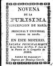 Novena de la Purísima Concepción de Maria: principal y universal patrona de España en este misterio