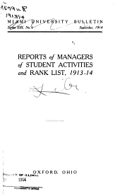 Reports of Managers of Student Activities and Rank List