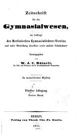 Sokrates: Zeitschrift für das Gymnasialwesen, Band 5
