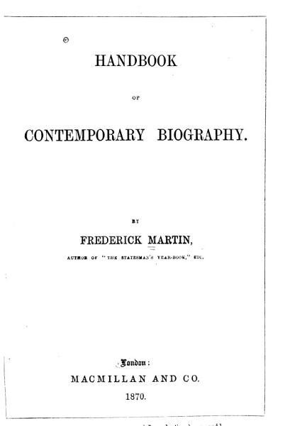 Download Handbook of Contemporary Biography Book